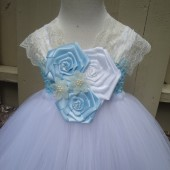 flower girl tutu dress in blue,lace and white