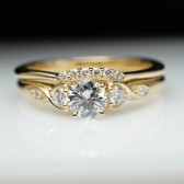 Diamond Engagement Ring & Wedding Band Set Vintage Style