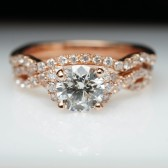 Rose Gold Diamond Halo Engagement Ring & Wedding Band Bridal Set