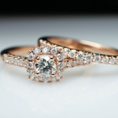Rose Gold Diamond Halo Engagement Ring & Wedding Band Complete Wedding Set