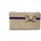 Linen Burlap Bow Clutch in Eggplant