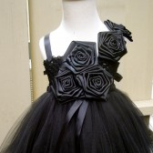 flower girl tutu dress in all black