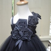 black flower girl tutu dress