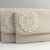 burlap and lace bridesmaids clutch