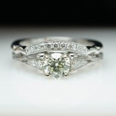 Vintage Style Diamond Engagement Ring & Wedding Band Set