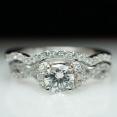 White Gold Diamond Engagement Ring & Wedding Band Set