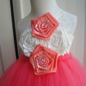 flower girl tutu dress in coral,ivory and lace