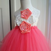 coral lace flower girl tutu dress