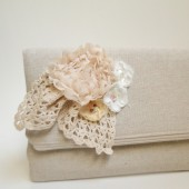 Bridal purse, lace and burlap