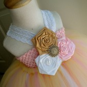 rustic gold,pink flower girl tutu dress