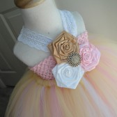 gold and pink flower girl tutu dress