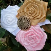rustic gold and pink flower girl headband