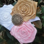 gold and pink flower girl headband
