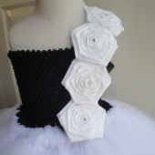 black&white flower girl tutu dress