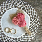 Coral Wedding Boutonniere