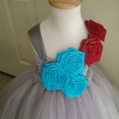 flower girl tutu dress in silver,red & turquoise