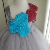 silver,red and turquoise flower girl tutu dress