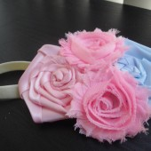 blue and pink flower girl headband