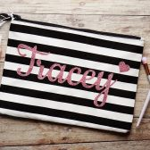 Personalized black and white striped cosmetic bag, personalized zippered pouch, makeup bag