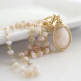 Bezel Pink Opal Necklace