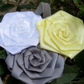 yellow and grey flower girl headband