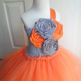 tangerine and grey flower girl tutu dress