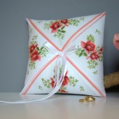 Coral Handkerchief Ring Pillow