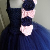 navy and pink flower girl tutu dress