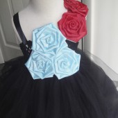 black,red and blue flower girl tutu dress
