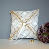 Vintage Inspired Burlap Ring Bearer Pillow
