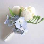 wedding, boutonniere, groom, best man, freesia, hydrangea, blue