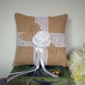Burlap and White Ring Bearer Pillow