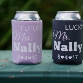 Future Mrs and Lucky Mr Beer Koozies, Personalized Can Coozies