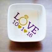 Wedding Date Ring Dish, Engagement Gift, Gift for Her, Personalized Jewelry Holder