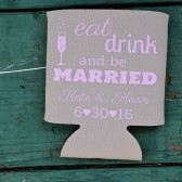 Custom Wedding Favor Koozies, Personalized Can Coozies, Eat Drink and Be Married Favors