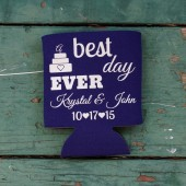 Best Day Ever Coozies, Wedding Favor Koozies, Personalized Beer Holders