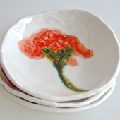 red hydrangea ring bowl