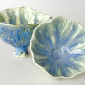 blue and green trinket bowls