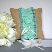 Ombre Aqua Ring Bearer Pillow