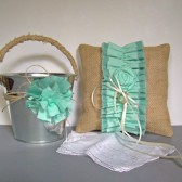 Aqua Flower Girl Pail and Ring Bearer Pillow