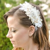Handmade Ivory and Gold Wedding Headpiece