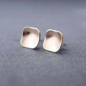 14K Gold Concave Square Studs