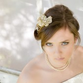 Gold Hand Beaded Headpiece