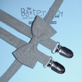 Light grey polyester bow ties & suspenders