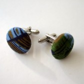 Green & Blue Vintage Fabric Cufflinks