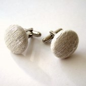 Silver Raw Silk Cufflinks