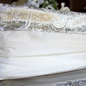 Silver Brocade and Silk Bridal Clutch Purse