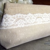 Linen and Lace Rustic Bridal Clutch