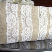 Linen and Lace Rustic Wedding Clutch Purse