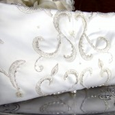 Ivory and Silver Beaded Bridal Clutch Purse